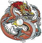 pic of dragon  - red chinese dragon holding pearl - JPG