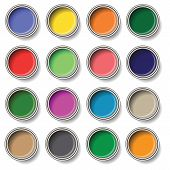 pic of bucket  - colorful illustration with oil paint buckets on white background - JPG