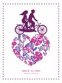 picture of tandem bicycle  - Vector vibrant field flowers couple on tandem bicycle heart silhouette frame pattern greeting card template graphic design - JPG