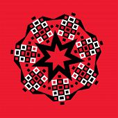 image of heptagon  - Graphic design of a geometric starburst heptagon design in black and white on red - JPG