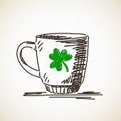 foto of clover  - Sketch of mug with clover leaf Vector illustration - JPG