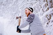 stock photo of ax  - Lumberjack brandishing an ax - JPG