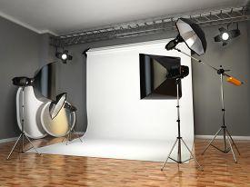 stock photo of flashing  - Photo studio with lighting equipment - JPG