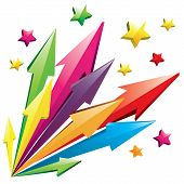 stock photo of shooting stars  - Vector illustration of colorful 3D arrows shoot out with stars isolated on white - JPG