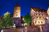 image of bavaria  - The night view of inner yard in beautiful Kaiserburg in Nuremberg - JPG