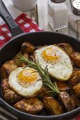 stock photo of baked potato  - Seasoned baked potatoes in a black cast iron frying pan with a sprig of rosemary on a wooden table top with a red and white checkered pattern dish towel salt and pepper shakersa cup of black coffee and a spatula and two fried eggs - JPG