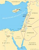 picture of political map  - Eastern Mediterranean Political Map with capitals national borders - JPG