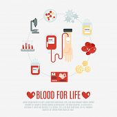 foto of red-blood-cell  - Blood donation concept with human hand and transfusion flat icons set vector illustration - JPG