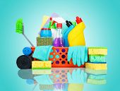 stock photo of cleaning service  - Cleaning supplies in a basket  - JPG