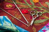picture of applique  - Special tools for fabric applique lying on the fragment - JPG