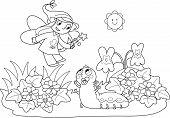 stock photo of caterpillar cartoon  - Flying fairy with wand and cute baby caterpillar - JPG