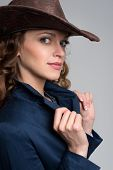 picture of cowboys  - Young lady in a cowboy hat - JPG