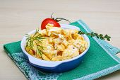 stock photo of scrambled eggs  - Scrambled eggs with tomato dill and black olive - JPG