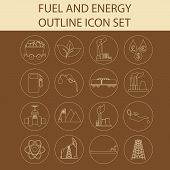stock photo of fuel tanker  - Outline icon set Fuel and energyl - JPG