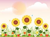 stock photo of dragonflies  - Flowery meadow with daisies - JPG