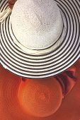 pic of panama hat  - Lady straw hat with decorative flower ribbon - JPG