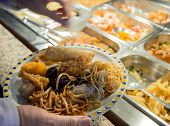 image of buffet  - full dish of Chinese food and restaurant buffet pans - JPG