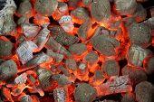 image of briquette  - Glowing Hot Charcoal Briquettes Close - JPG