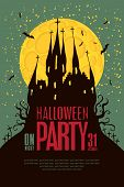 picture of yellow castle  - Halloween party with an old Gothic castle in the cemetery on the background of the full - JPG