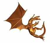 picture of dragon  - 3D digital render of a soaring fantasy golden dragon isolated on white background - JPG