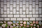 image of paving stone  - Natural stone and gray concrete tiles paving - JPG