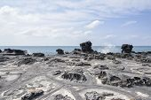 picture of unique landscape  - Landscape with distinctive geological rock coast in Jeju Island Korea - JPG