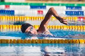 stock photo of crawling  - Man swims crawl in the pool - JPG