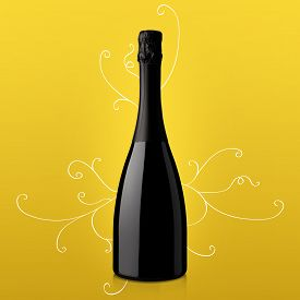 stock photo of tokay wine  - bottle of sparkling wine on yellow background - JPG