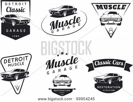 Classic Muscle Car Club Emblems Poster ID - Muscle car club