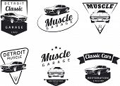 Постер, плакат: Classic muscle car club emblems
