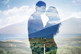 picture of superimpose  - Superimposed Of Couple Loving Each Other Against Scenic Backdrop - JPG