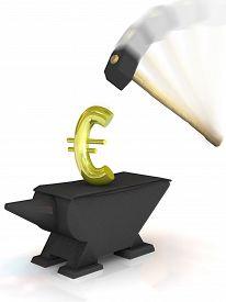 stock photo of anvil  - Euro sign on anvil under a heavy hammer - JPG